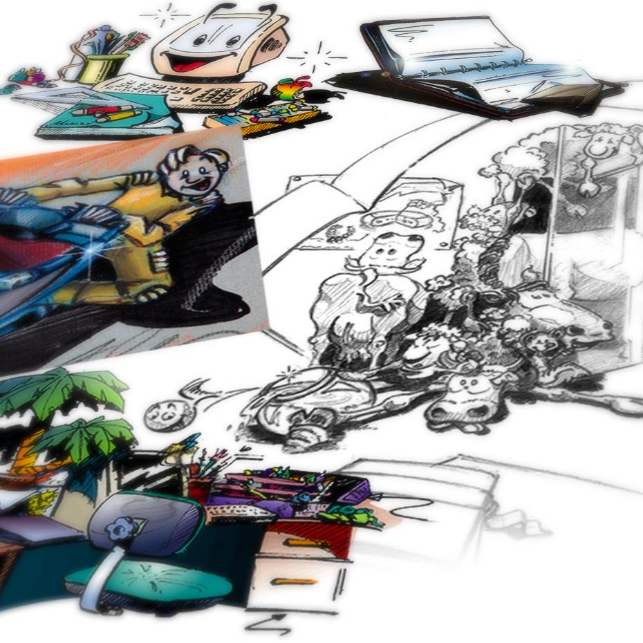 Conception et création de roughs et maquettes graphiques  au crayons feutres