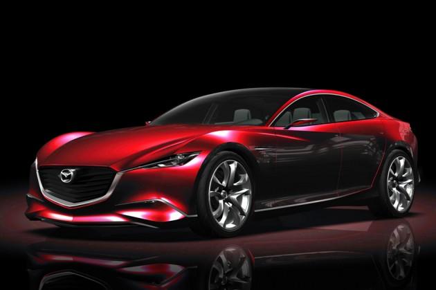 Concept préfigurant la Mazda 6 avec son design Kodo qui reprend les nouveaux traits stylistiques propres à la marque